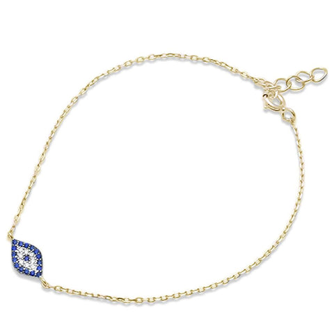 Trendy! Yellow Gold Plated Blue Sapphire Evil Eye .925 Sterling Silver Bracelet