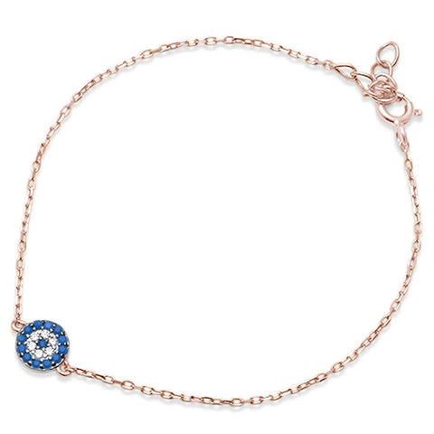 Trendy! Rose Gold Plated Turquoise & Cz .925 Sterling Silver Bracelet