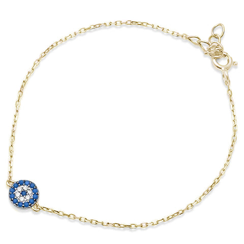 Trendy! Yellow Gold Plated Turquoise & Cz .925 Sterling Silver Bracelet