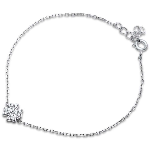 "Cubic Zirconia Clover .925 Sterling Silver Bracelet 6"" + 1"" Extension"