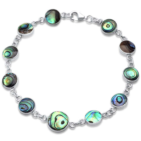 Round Abalone Shell .925 Sterling Silver Bracelet 7.25""