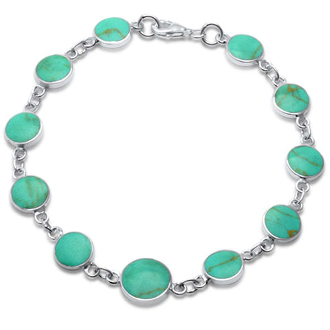 Round Turquoise .925 Sterling Silver Bracelet 7.25""