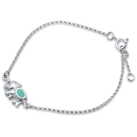 "<span>CLOSEOUT!</span>Cute! Turquoise Bali Elephant .925 Sterling Silver Bracelet 6.5""+1"" Extension"
