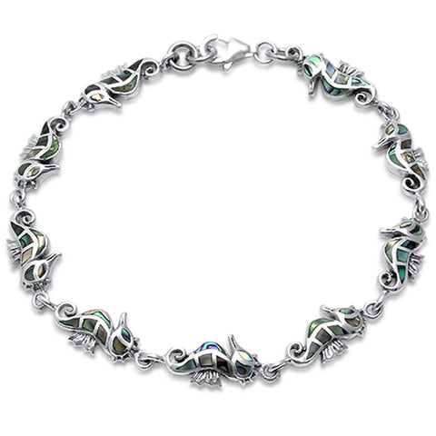 Abalone Shell SeaHorse .925 Sterling Silver Bracelet 7""