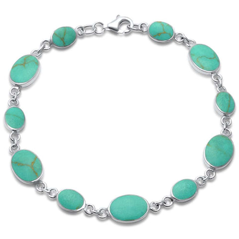 Oval & Round Turquoise .925 Sterling Silver Bracelet 7.5""