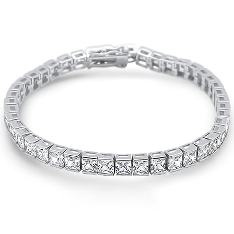 4MM Square Bezel Set Cubic Zirconia .925 Sterling Silver Bracelet