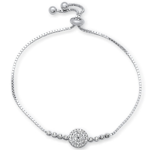 "Micro Pave Round Cubic Zirconia .925 Sterling Silver 7-9"" Adjustable Toggle Bola Bracelet"