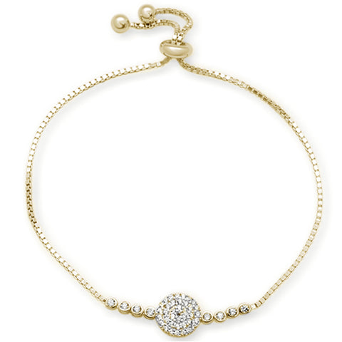 "Micro Pave Yellow Gold Plated Round Cubic Zirconia .925 Sterling Silver 7-9"" Adjustable Toggle Bola Bracelet"