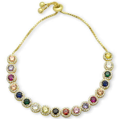 "Yellow Gold plated Round Multicolor Gemstones CZ .925 Sterling Silver 7-9"" Adjustable Toggle Bola Bracelet"