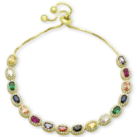 "Yellow Gold plated Oval Multicolor Gemstones CZ .925 Sterling Silver  7-9"" Adjustable Toggle Bola Bracelet"