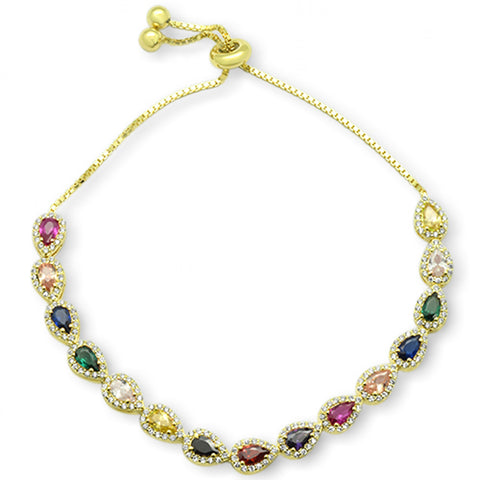 "Yellow Gold plated Pear Multicolor Gemstones CZ .925 Sterling Silver 7-9"" Adjustable Toggle Bola Bracelet"