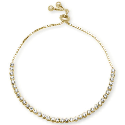 "Yellow Gold Plated Clear CZ Bezel .925 Sterling Silver  7-9"" Adjustable Toggle Bola Bracelet"