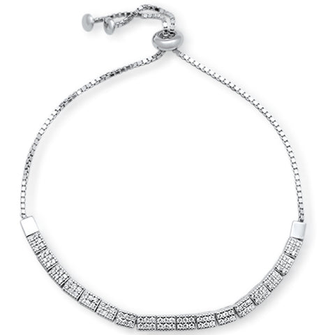 "Micro Pave Cubic Zirconia .925 Sterling Silver 7-9"" Adjustable Toggle Bola Bracelet"