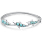 Natural Larimar Dolphin .925 Sterling Silver Bangle Bracelet