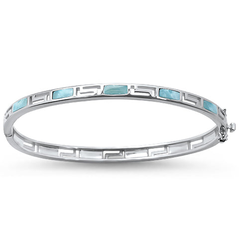 Natural Larimar Greek Design  .925 Sterling Silver Bracelet Bangle