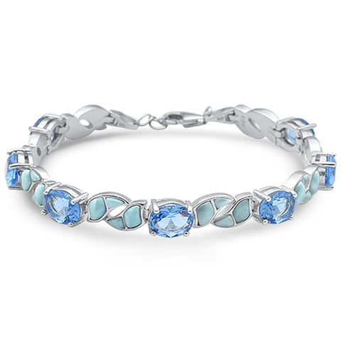 Natural larimar Oval Tanzanite .925 Sterling Silver Bracelet
