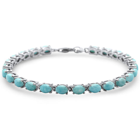 "Natural Larimar Oval Shape Fire .925 Sterling Silver Bracelet 7"" Long"