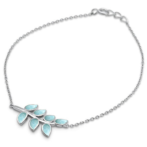 Natural Larimar Leaf Design .925 Sterling Silver Bracelet