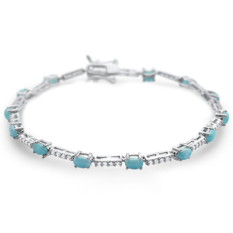 "New Natural Larimar .925 Sterling Silver Bracelet 7.5"" Long"