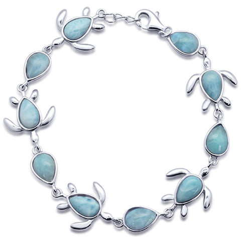 "Natural Larimar Turtle Charm .925 Sterling Silver Bracelet 7.5"" to 8"" Long"