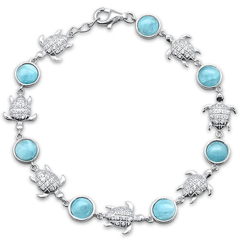 Natural Larimar & CZ Turtles .925 Sterling Silver Bracelet