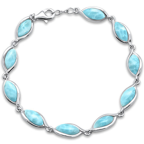 Natural Larimar New Design .925 Sterling Silver Bracelet