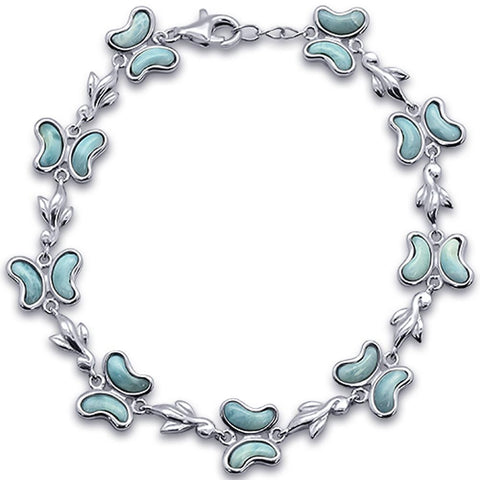 Butterfly Charm Natural Larimar .925 Sterling Silver Bracelet