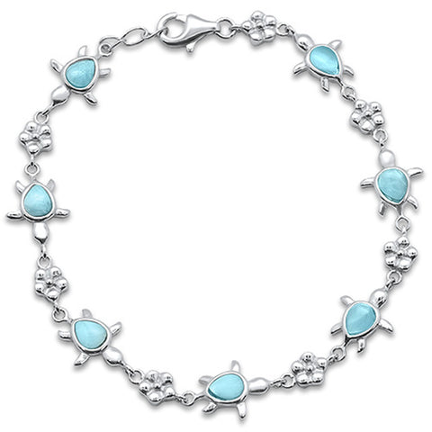 Natural Larimar Turtles .925 Sterling Silver Bracelet