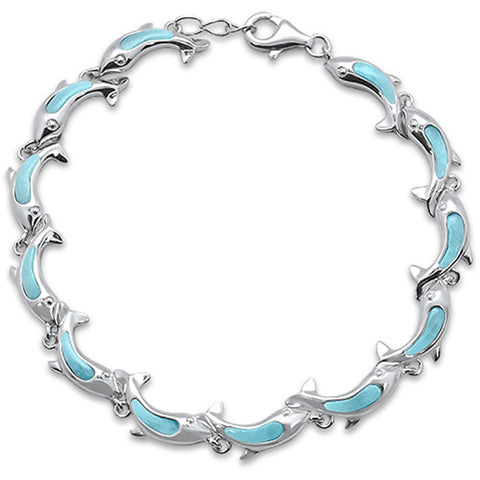 New Dolphins Natural Larimar .925 Sterling Silver Bracelet