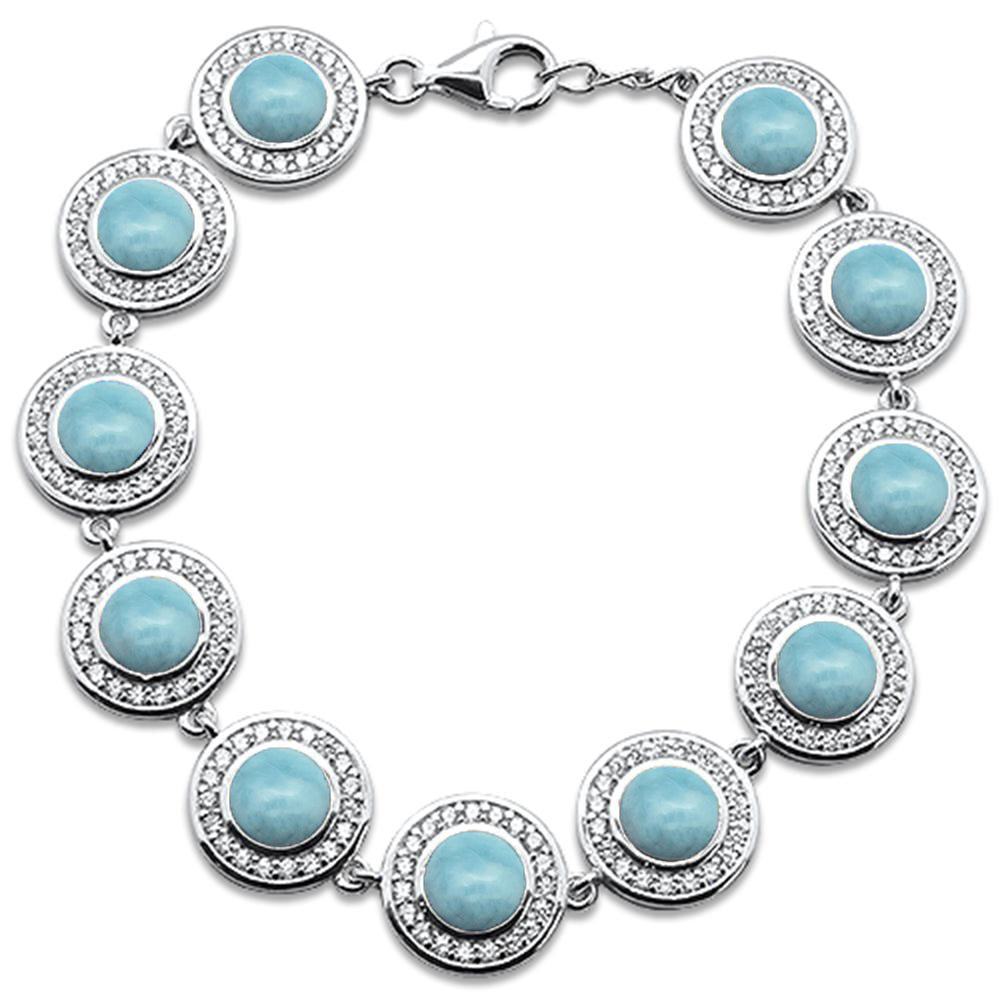 "Round Natural Larimar & Cubic Zirconia .925 Sterling Silver Bracelet 7"" Long"