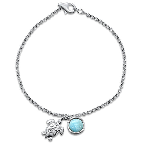 "New Natural Larimar Turtle .925 Sterling Silver Bracelet 7.5"" Long"