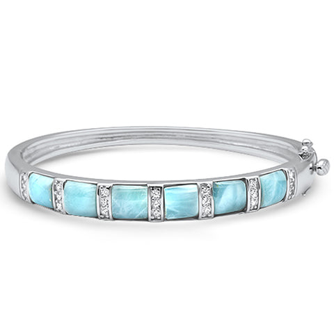 Natural Larimar & Cz .925 Sterling Silver Bangle Bracelet