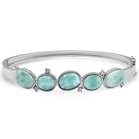New Natural Larimar Oval & Amethyst .925 Sterling Silver Bangle Bracelet