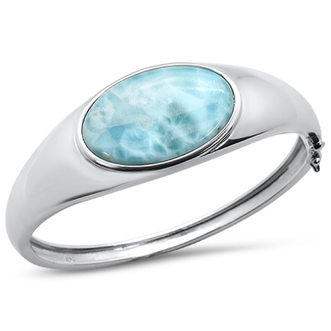 Oval Natural Larimar .925 Sterling Silver Bangle Bracelet
