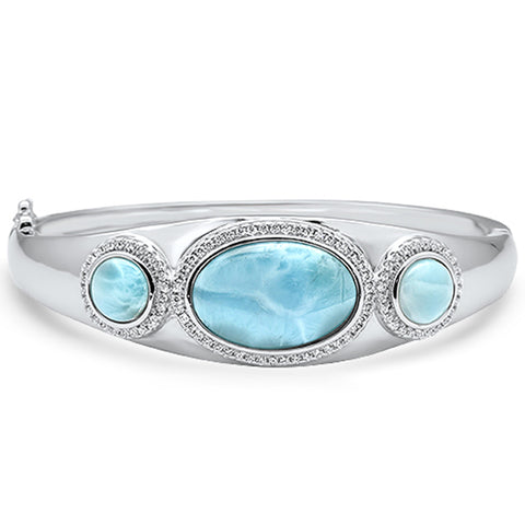 Natural Larimar & Cubic Zirconia .925 Sterling Silver Bangle Bracelet