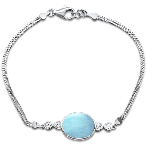 "New Natural Larimar Oval .925 Sterling Silver Bracelet 8"" Long"
