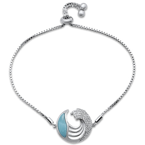 Natural Larimar & Cubic Zirconia  .925 Sterling Silver Bracelet Adjustable
