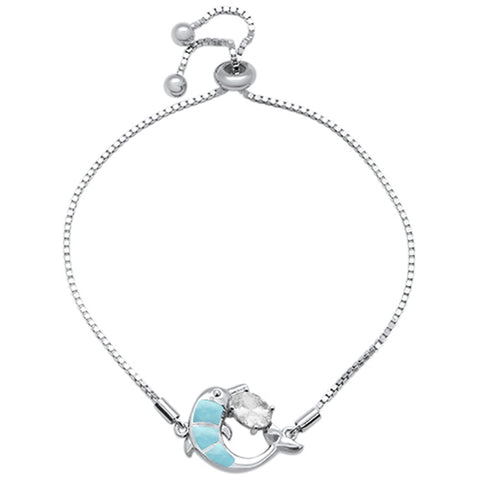 "Natural Larimar Dolphin & Oval CZ .925 Sterling Silver 7-9"" Adjustable Toggle Bola Bracelet"