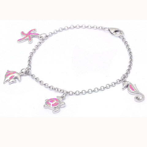 Pink Opal Sea Horse, Turtle, Fish & Starfish .925 Sterling Silver Bracelet