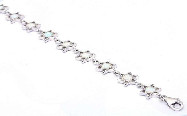 White Opal Star of David .925 Sterling Silver Bracelets