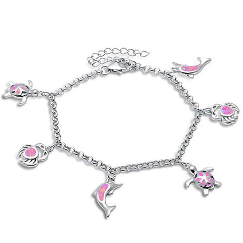 Pink Opal Turtle, Crab & Dolphin .925 Sterling Silver Bracelet
