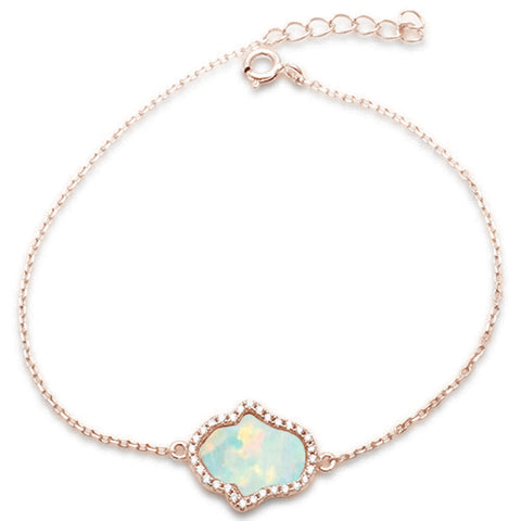 Rose Gold Plated White Opal & Cubic Zirconia Hamsa .925 Sterling Silver Bracelet