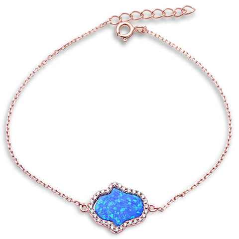 Rose Gold Plated Blue Opal & Cz Hamsa .925 Sterling Silver Bracelet