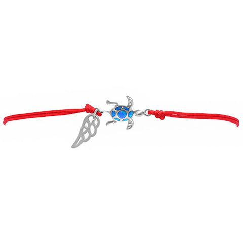 <span>CLOSEOUT!</span> Blue Opal Crab .925 Sterling Silver Adjustable Red Bracelet