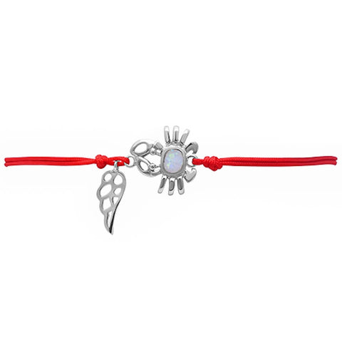 <span>CLOSEOUT!</span> White Opal Crab .925 Sterling Silver Adjustable Red Bracelet