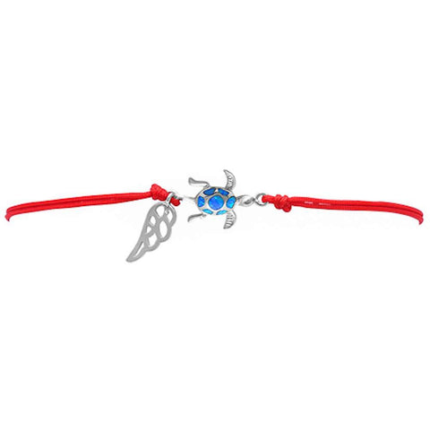 <span>CLOSEOUT!</span> Blue Opal Turtle .925 Sterling Silver Adjustable Red Bracelet