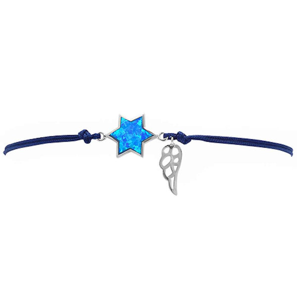 <span>CLOSEOUT!</span> Blue Opal Star Of David .925 Sterling Silver Adjustable Black Bracelet