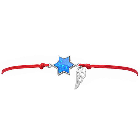 <span>CLOSEOUT!</span> Blue Opal Star Of David .925 Sterling Silver Adjustable Red Bracelet