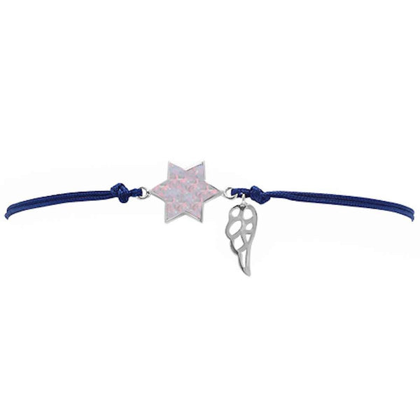 <span>CLOSEOUT!</span> White Opal Star Of David .925 Sterling Silver Adjustable Black Bracelet