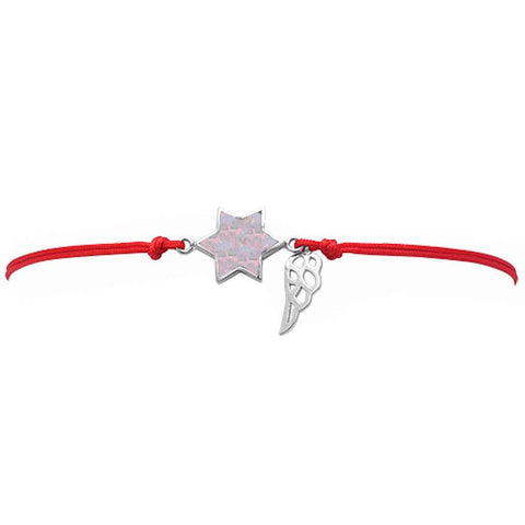 <span>CLOSEOUT!</span> White Opal Star Of David .925 Sterling Silver Adjustable Red Bracelet